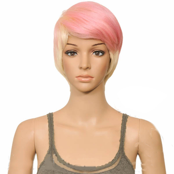 houyan sbaseball hat straight hair heat resistant fiber wig synthetic short heat resistant fiber cut short wig HAIRJOY Woman Ice pink Straight Short Layered Cut  Synthetic Hair Wigs  Heat Resistant Fiber Wig