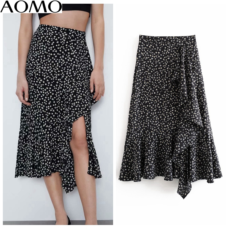 AOMO Casual Women Print Ruffles Midi Skirt Faldas Mujer 2020 New Side Zipper Office Ladies Elegant Chic Mid Calf Skirts 6A164A
