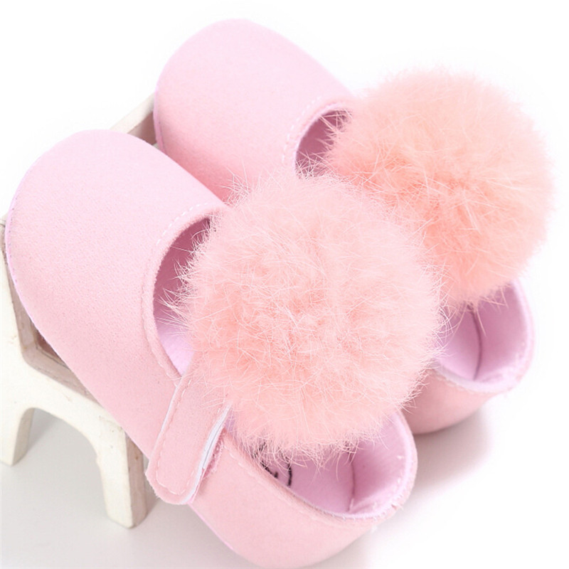 Winter Baby Girl Soft Crib Shoes Princess Infant Girls Hairball Warm Shoes First Walkers For 0-18M Red Pink Black
