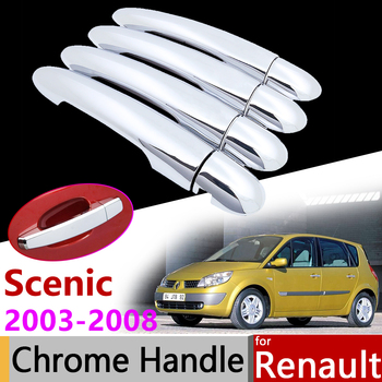 Car Exterior Accessories Door Chrome Handle Cover for Renault Scenic II 2 2003~2008 2005 2006 2007 Protective Trim Set Stickers