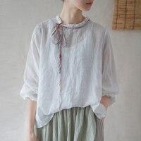 Johnature mujeres Vintage ramio camisetas de Color sólido 2021 novedad de verano Tops de manga larga Casual Camisetas Mujer ropa suelta camisetas