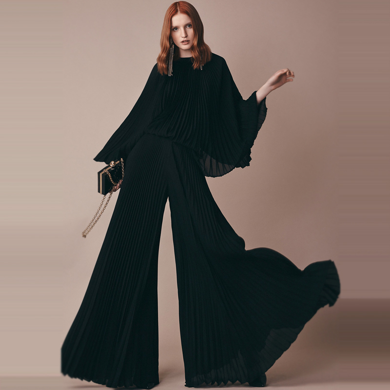 Long Sleeve Jumpsuit Women 2020 Summer Batwing Sleeve Runway O Neck Pleated Wide Leg Trouser Romper Black Beach Boho Overalls