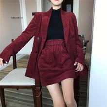 2020 Autumn Solid Women Elegant Corduroy Blazer OL Notch Collar Jacket Female Wine Red Double Breasted Coats