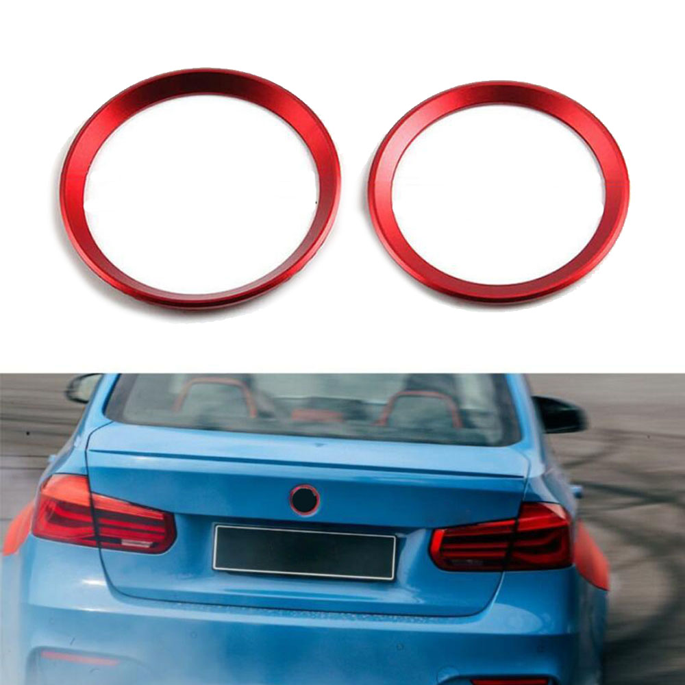 Front & Rear Logo Surrounding Ring Covers Trims For BMW F30 E90 3 4 Series image