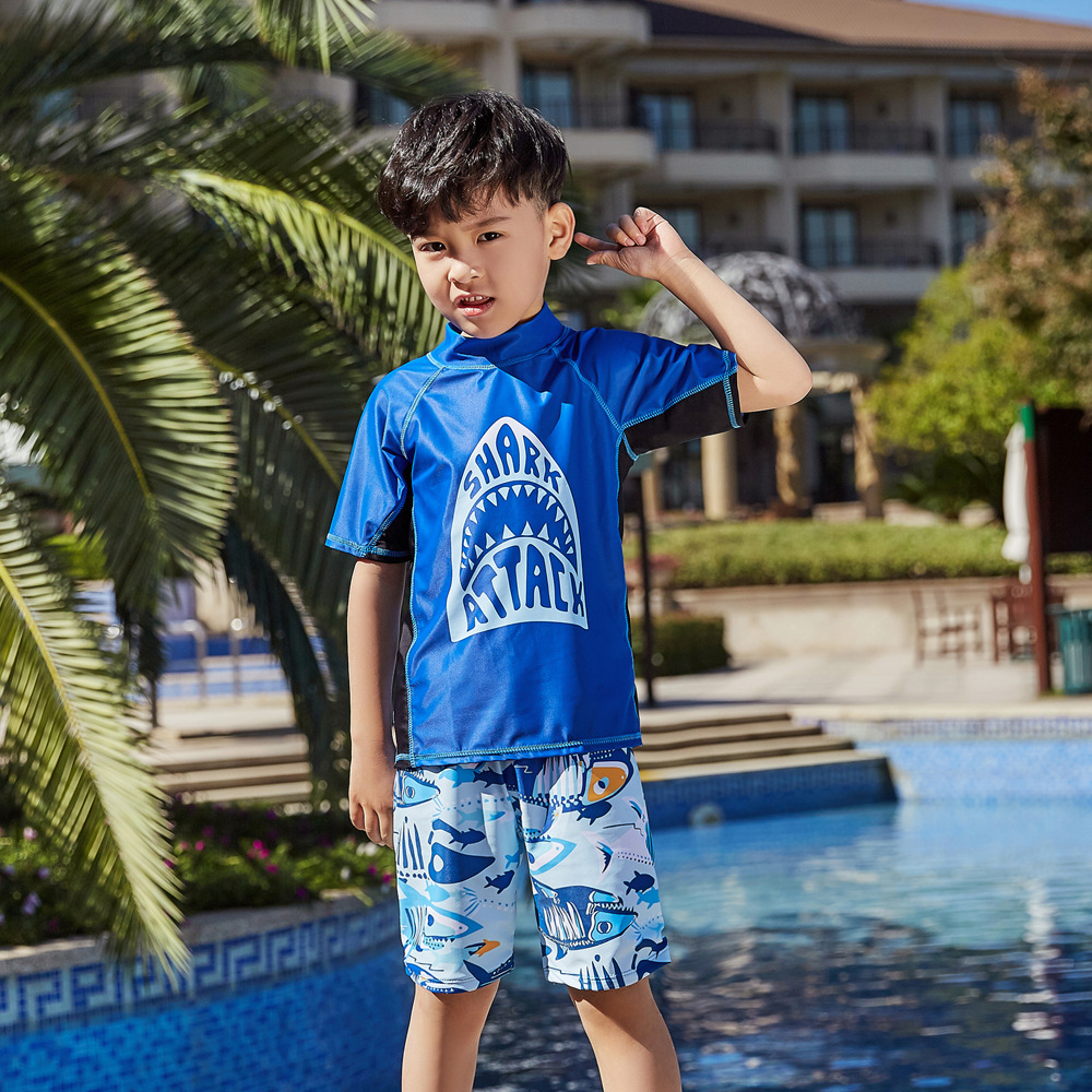 2019 New Style Hot Sales Split Type Bathing Suit Short Sleeve Shorts Stand Collar Cool Hot Springs Cartoon BOY'S CHILDREN'S Swim