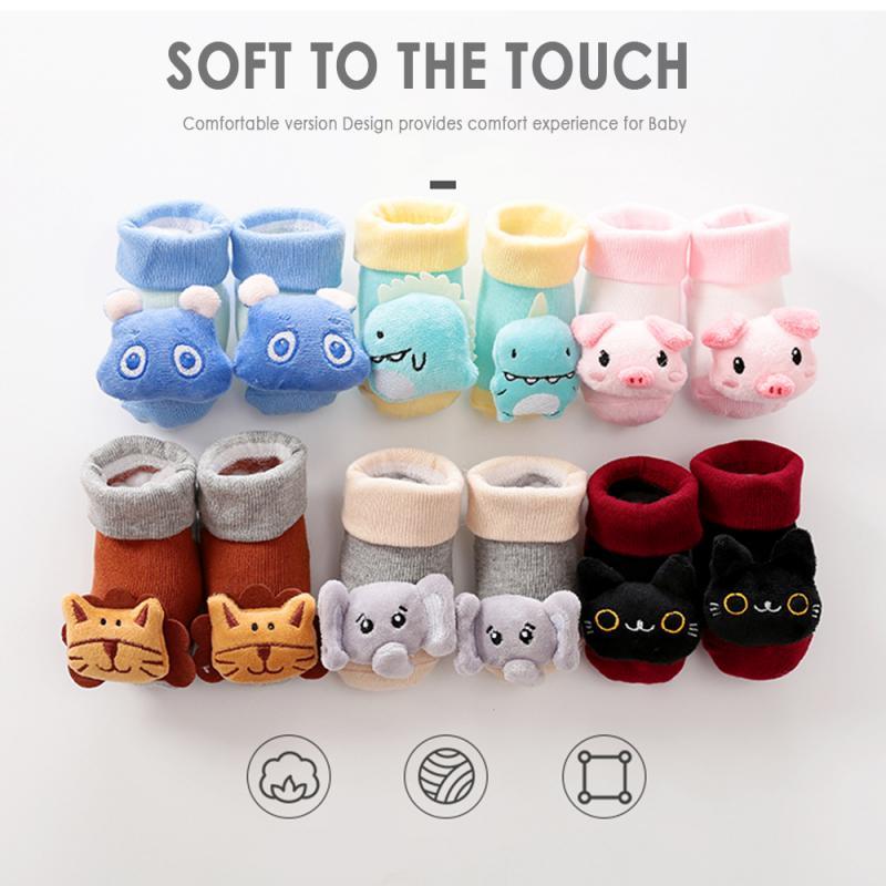 Newborn Baby Cotton Socks Long Tube Warm Socks Cartoon Animal Floor Non-slip Socks Cartoon Bell Baby Soft Cute Boots Baby Gift