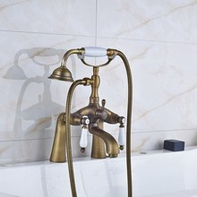 цена на Retro Antique Brass Double Ceramic Handles Deck Mounted Bathroom Clawfoot Bathtub Tub Faucet Mixer Tap w/Hand Shower aan008