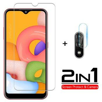 Перейти на Алиэкспресс и купить 2-в-1 закаленное стекло для Samsung Galaxy A01 2020 Защита экрана для samsung a01 a 01 объектив камеры 5,7 дюймзащитное стекло