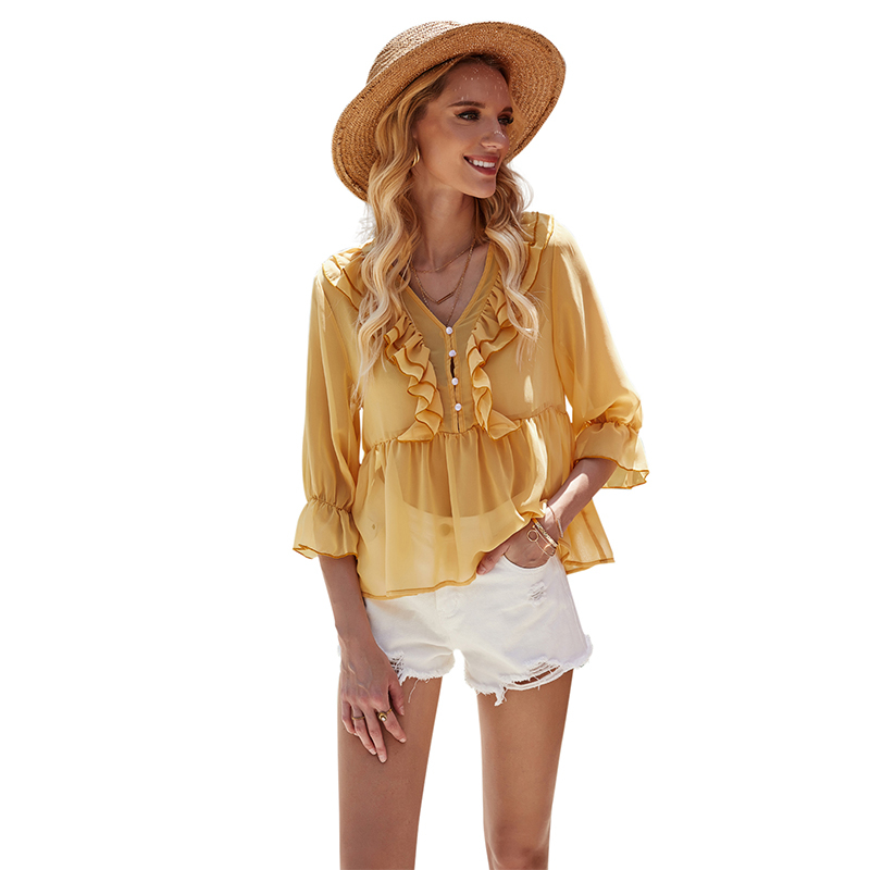 Sexy V Neck See Through Ruffle Blouse For Women Hot Ladies Summer Half Sleeve Sheer Chiffon Blouse Plus Size