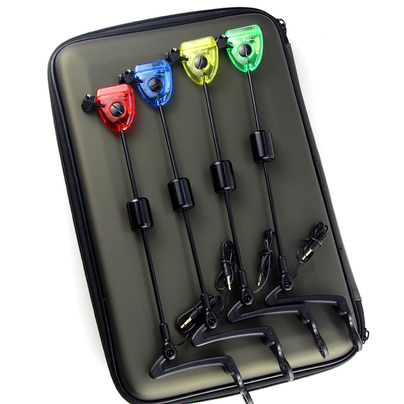 Fishing Swingers Set Fishing Bite Alarm Indicators 4pcs In Zipped Case Led Illuminated Swinger Carp Fishing Accessories A501