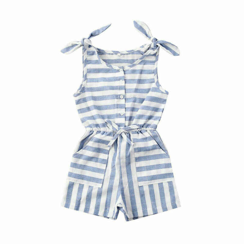 1-5Years Casual Kind Baby Mädchen Streifen Kleidung Sleeveless Spielanzug Overall Outfit Sunsuit