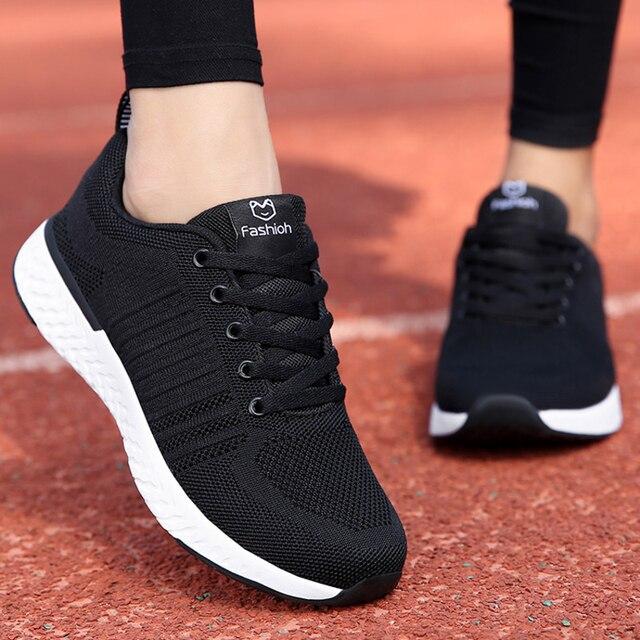 Tênis feminino esportivo, tênis feminino de malha respirável, confortável, macio, leve, para atividades ao ar livre, para academia planos baixos