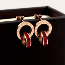 Luxury Brand Letter Roman Numeral Double Circle Earrings For Women Love Charm Square CZ Crystals Stud Jewelry Gift KA17
