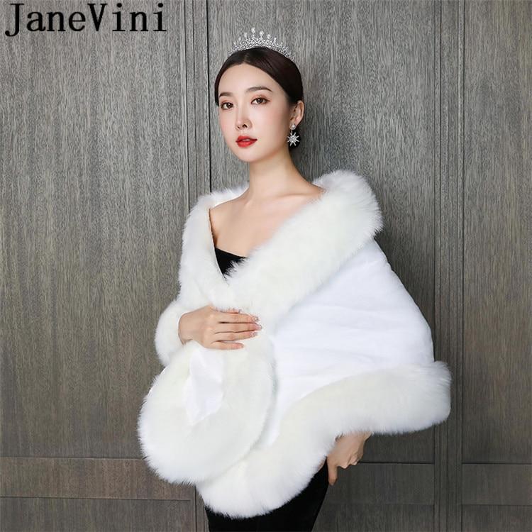 JaneVini 2020 White And Ivory Faux Fur Wrap Shawl Party Bolero Bridal Fur Boleros Formal Capes Winter Wedding Coats For Brides