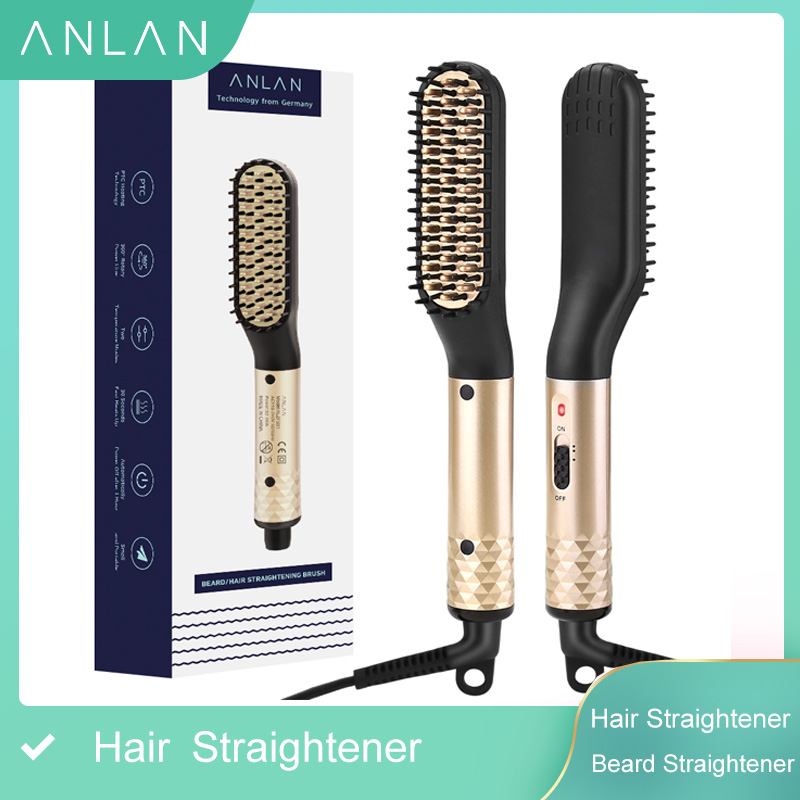 ANLAN Hair Straightener Comb Durable Electric Straight Hair Comb Brush Heated Ceramic Hair Straightening  Electric Brush EU USStraightening Irons   -