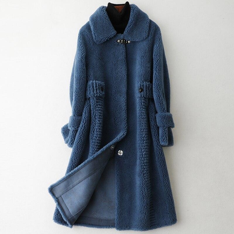 Real Fur Coat Autumn Winter Coat Women Clothes 2020 Wool Jacket Korean Vintage Sheep Shearling Suede Lining Abrigo Mujer ZT3636
