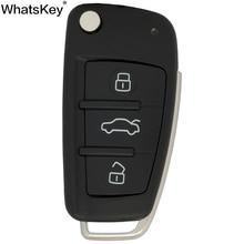 цена на WhatsKey Top Quality 3 Buttons Flip Car Key Remote Folding Key Cover Shell Fob Case Key For Audi TT A8 A6 c5 c6 A4 b5 b6 A3