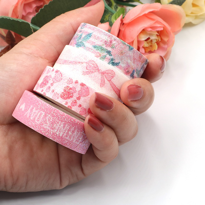 NEW Decor Cute Valentine Washi Tape Pink Hearts Bow Flowers DIY Planner Japanese Paper Masking Tapes Set School Office Supplies