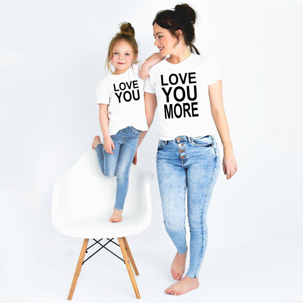 Love You & Love You More Mom And Daughter Son Shirts Mommy And Me Summer Casual Family Matching Tshirts Outfits Fashion