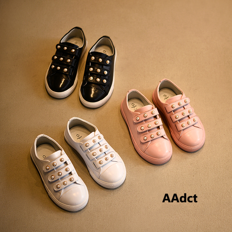 AAdct Girls Shoes New Fashion Pearl Little Kids Shoes For Girls Genuine Leather Princess Children Casual Shoes Brand