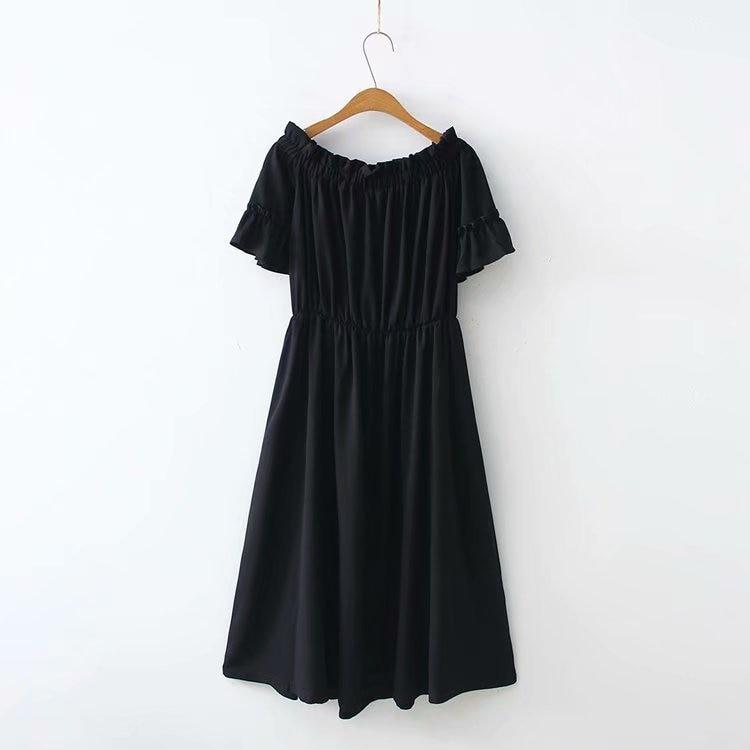 2019 Summer Wear New Style 200 Of Fat Mm Wearable Plus-sized Horizontal Neck Chiffon Dress LE8052-1