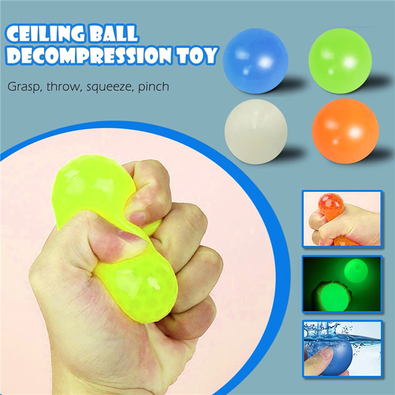 QISHENG TRADE 4Pcs Ceiling Sticky,Glowing Sticky Ball,Ceiling//Wall Sticky Balls Decompress Stress Relief Balls Fluorescence Goo Ball Luminescent Squeeze Vent Ball Fun Toy for Kids and Adults