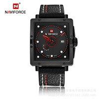 Marca naviforce 9065 novo estilo quadrado relógio masculino esportes duplo calendário relógio masculino casual|  -