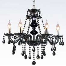 Nordic chandelier black crystal lighting restaurant European style living room bedroom lamp postmodern candle hanging lamps(China)