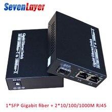 Гигабитный медиаконвертер 1 sfp в 2 rj45 UTP гигабитный оптоволоконный ethernet для ip-камеры 10/100/1000 м