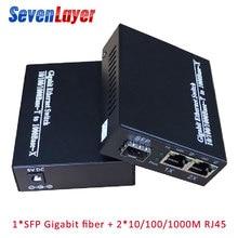 цена на Gigabit media converter 1 sfp to 2 rj45 UTP gigabit optical fiber ethernet for ip camera 10/100/1000M