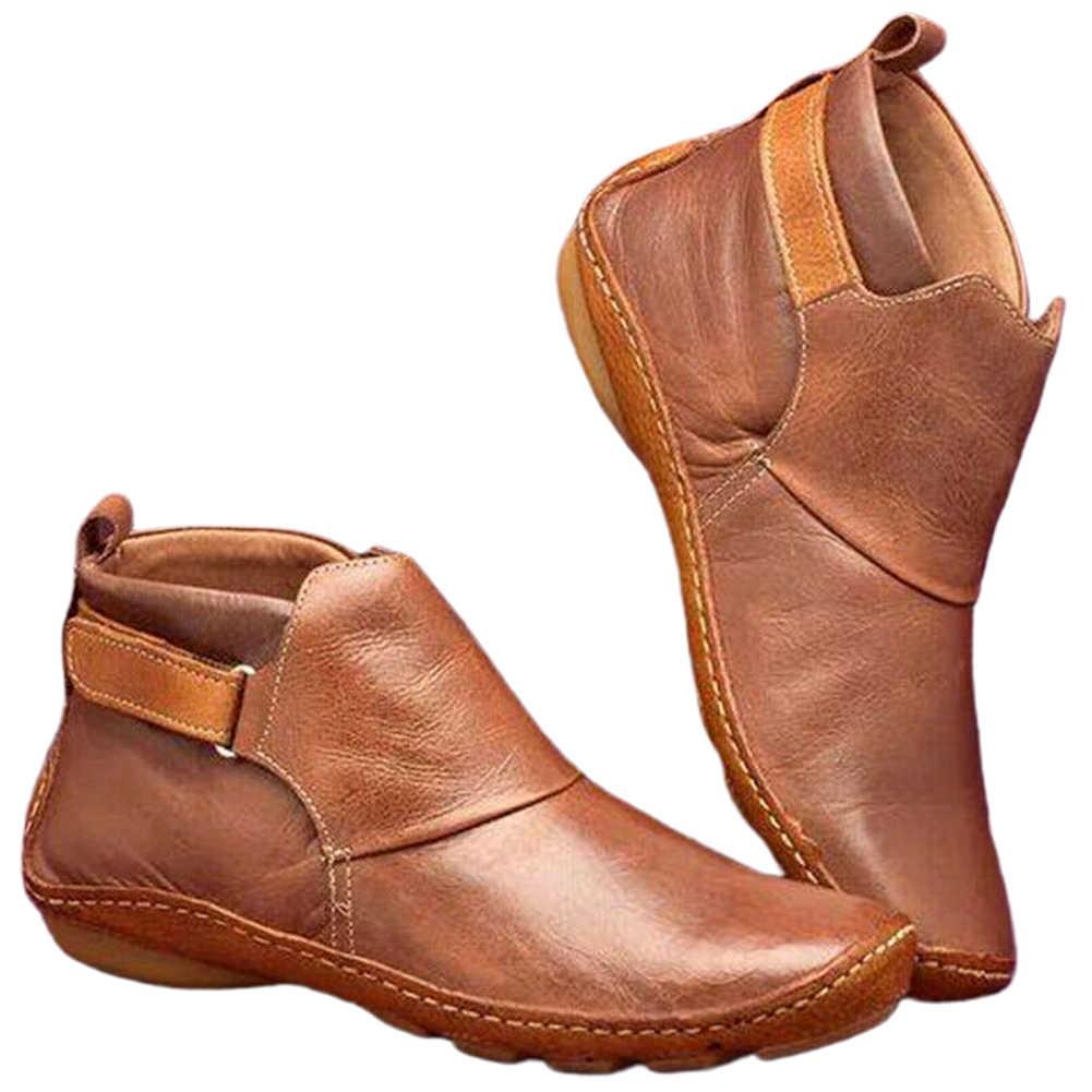 Moda kadın yarım çizmeler düz topuk Arch destek yürüyüş rahat PU deri sıcak kaymaz kısa açık hafif kar ayakkabıları