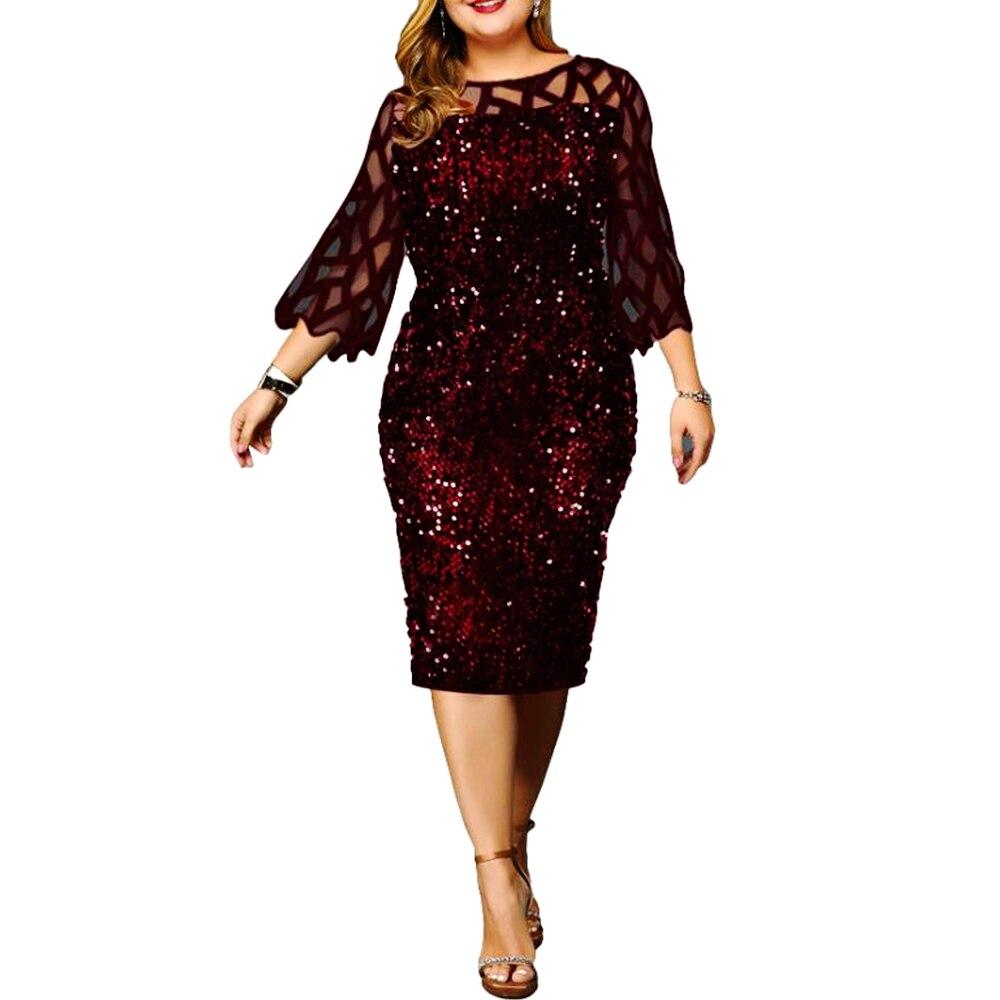 Mulher vestido 2021 primavera elegante sexy malha lantejoulas casamento festa de noite clube vestido casual plus size magro escritório lápis vestidos