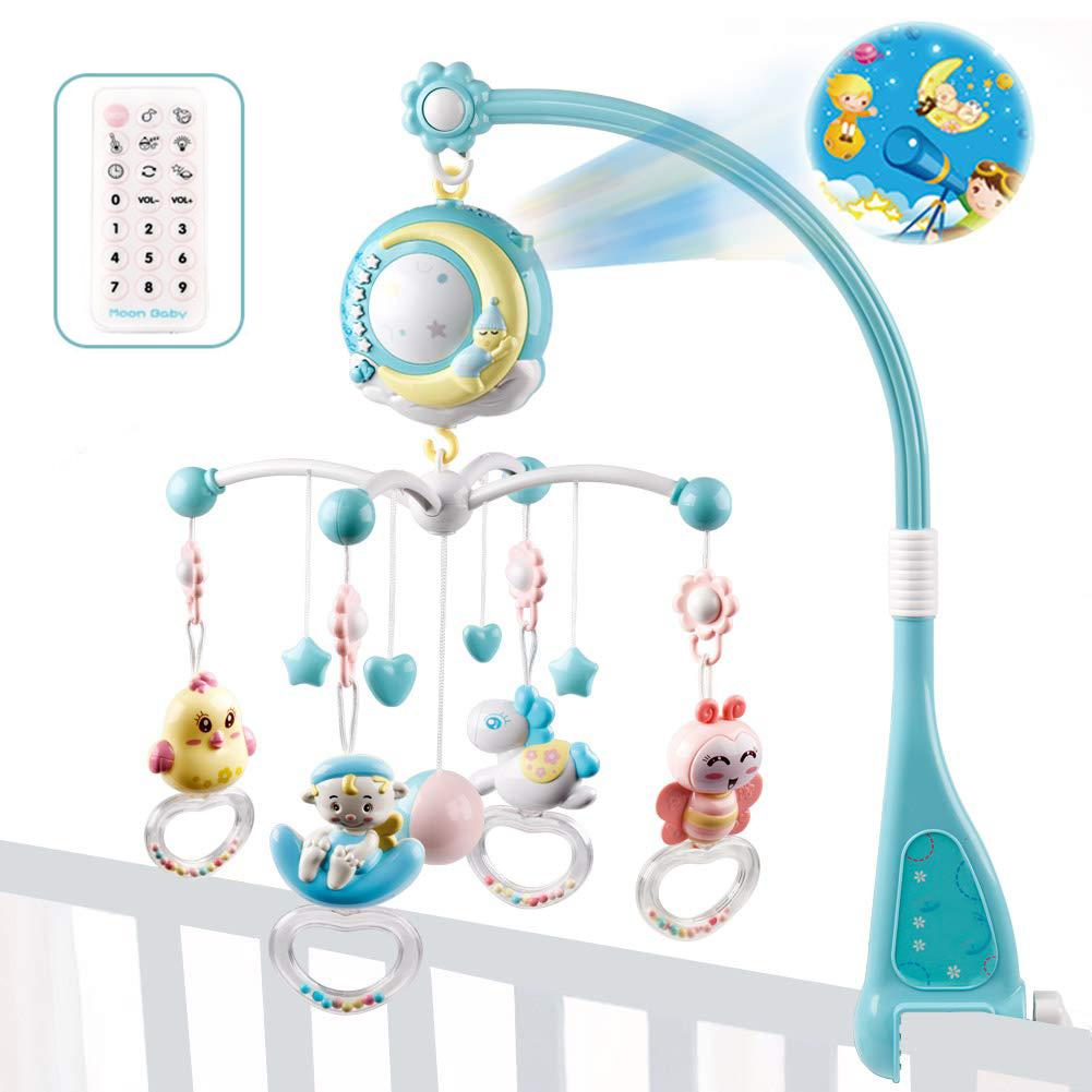 Baby Musical Crib Mobile Bed Bell Baby Toys Hanging Rattles Rotating Projection Music Box With Night Light Cute Cartoon Toys