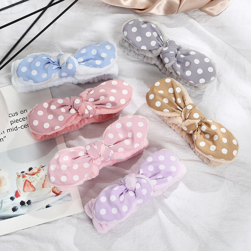 2021 Wash Face Hair Holder Hairbands Soft Coral Fleece Bow Dots Knotted Ears Headband For Women Girls Turban Hair Accessories