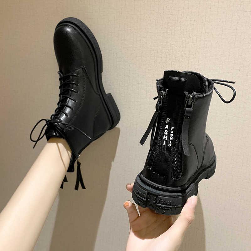 Kadın düz yarım çizmeler kısa siyah sonbahar botları kadın bağcıklı moda botları 2020 ayakkabılar chelsea botlar