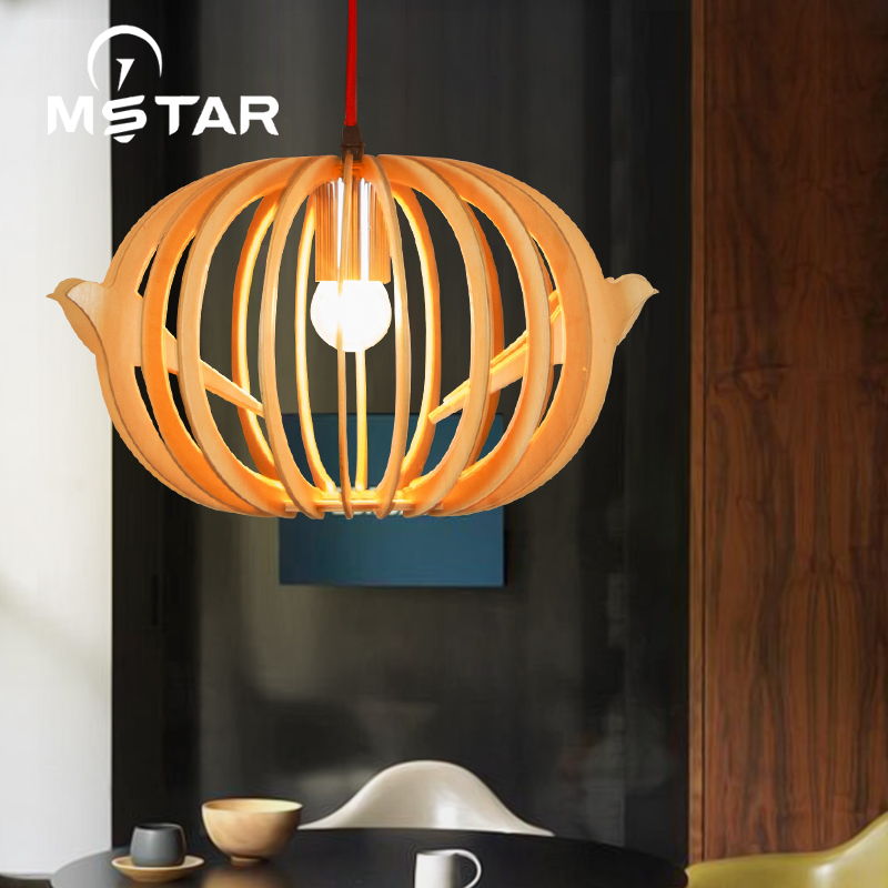 Chinese Wooden Pumpkin Pendant Light Weaving Art Bedroom Study Corridor Balcony Lamp Hanglamp