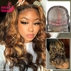 Honey Blonde Ombre Colored Highlight Body Wave PU Silk Base Lace Front Human Hair Wigs Remy Pre Plucked 4*4 Silk Top Closure Wig(China)