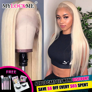 Middle Part Closure Wig Honey Blonde 613 Frontal Wig 13x1 Swiss Lace 150% Density Blonde Lace Front Human Hair Wigs MYLOCKME