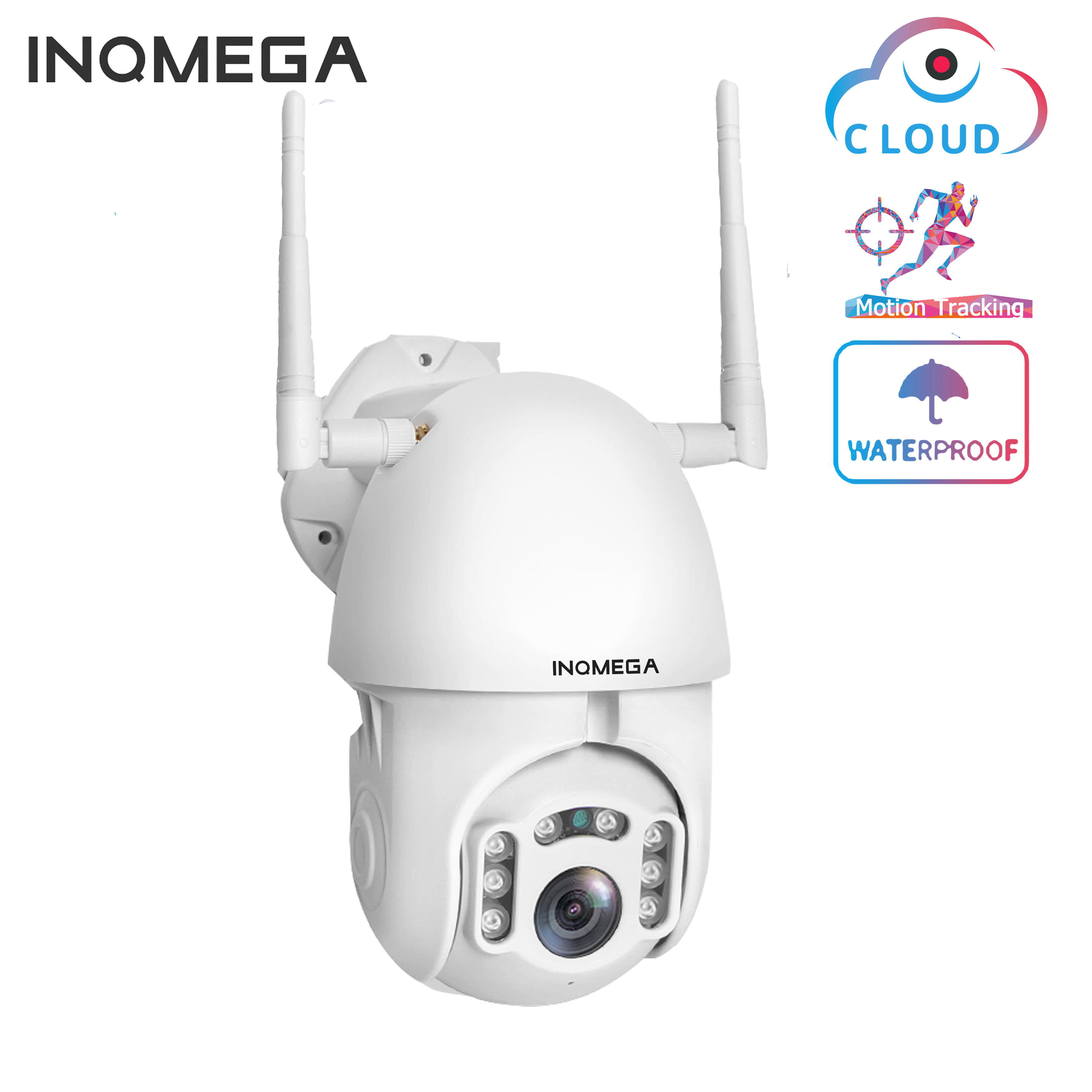 INQMEGA 1080P IP Camera WiFi  Wireless Auto Tracking PTZ Speed Dome Camera Outdoor CCTV Security Surveillance Waterproof Camera