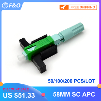 цена на SC APC Fast Connector Single-Mode Connector FTTH Tool Cold Connector Tool Fiber Optic Fast Connector 58mm