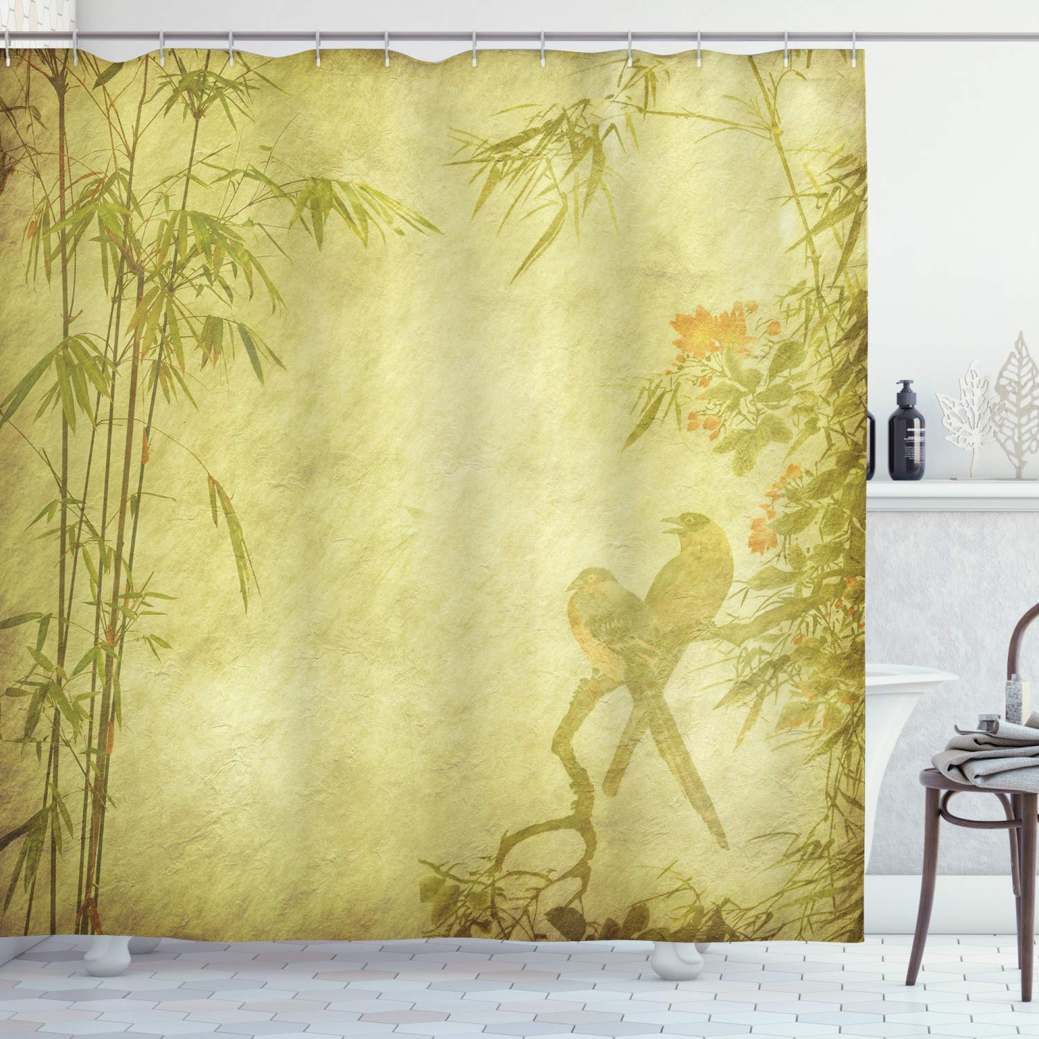 Bamboo Shower Curtain Silhouettes Of Birds On The Branch And