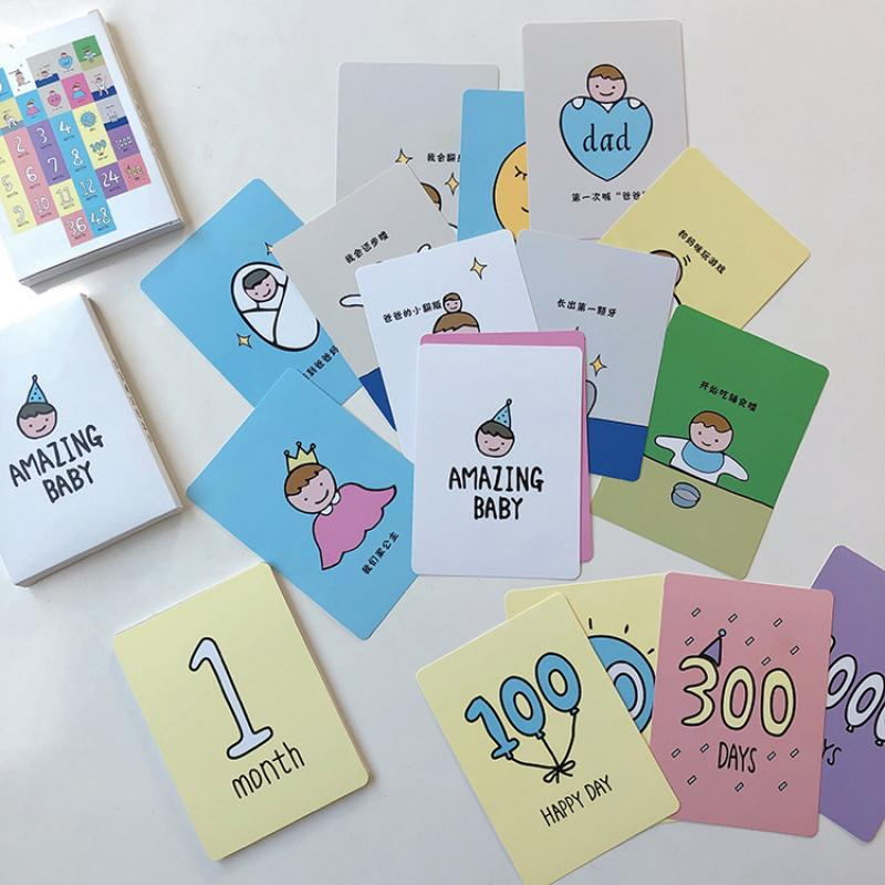32pcs/set Of Newborn Month Days Card Baby Growth Memorial Photo Background Card Growth Instant Commemorative Gift