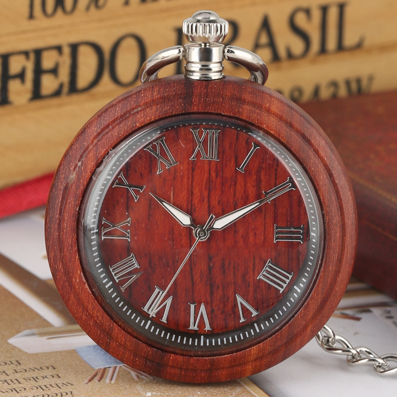 Retro Ebony Wood Watch Men's Red Sandalwood Quartz Pocket Watch Roman Letter Fashion Luminous Needle 30cm Chain FOB Watches Gift