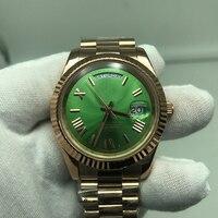 Aaa 1 ouro verde relógio de luxo automático daydate men automático auto-vento 40mm 18k relógios de aço inoxidável relógio de pulso sem bateria