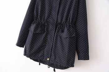 European style Spring Autumn women polka dots drawstring hooded trench, female fashion plus size loose casual windbreaker coat 6
