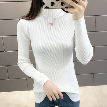 Korean Style Women Autumn Knitted Sweater Solid Pullovers Female Full Sleeve High Elastic New Winter Fashion