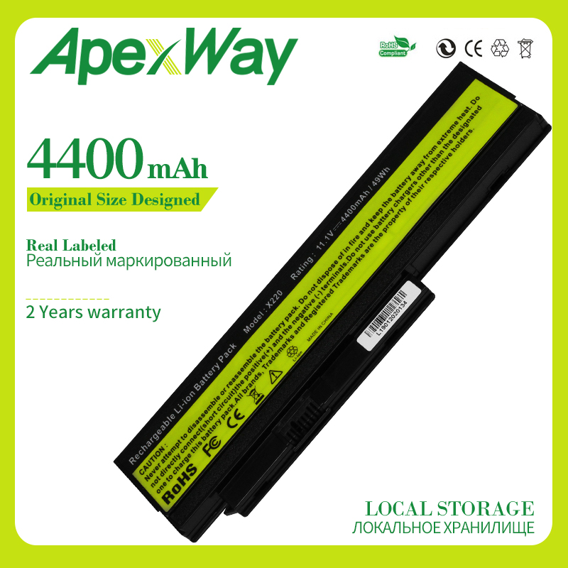 Apexway 11.1V 4400 MAh 6 Cells Laptop Battery For LENOVO ThinkPad X220 X220i 42T4901 42T4940 42T4942 ASM 42T4862 FRU 42T4861