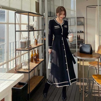 One-Piece Long Sleeve Dress Women 2020 Knitted Sweater Autumn Winter Fashion Dress Female Korean Elegant Waist Dresses Vestidos 2020 elegant knitted sweater dress women korean causal autumn spring hollow out long sleeve loose pullover long dress black