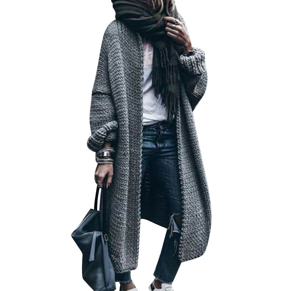 Long Sleeve Soft Front Open Women Coat Warm Solid Traveling Casual Knitting Full Length Daily Loose Fit Thickened Autumn Winter