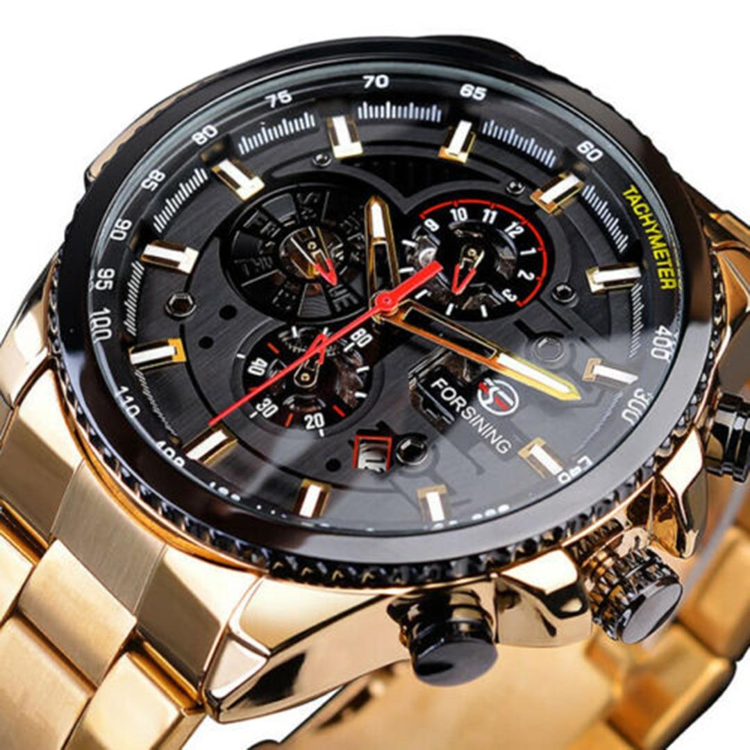 US $25.88 40% СКИДКА|1 шт., автоматические механические часы из нержавеющей стали с тремя циферблатами и календарем, известный бренд, спортивные водонепроницаемые наручные часы с календарем для мужчин|Механические часы| |  - AliExpress